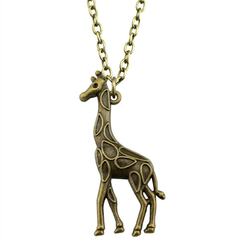 Vintage Antique Bronze Color Giraffe Pendant Necklace ...