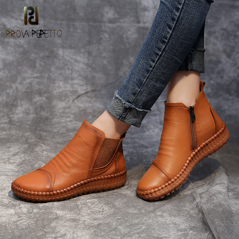 Prova perfetto 2019 Spring Autumn Flat New Women Casual Shoes Flat bottom leisure soft bottom cattle