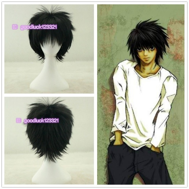 Free Shipping Death Note L Lawliet Short Layered Black Cosplay Anime