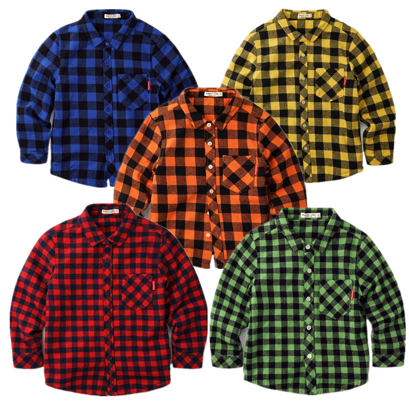 HP-42, winter children boys long sleeve thick plaid shirts, warm fleece lining, 100% cotton plaid. событие и вещи