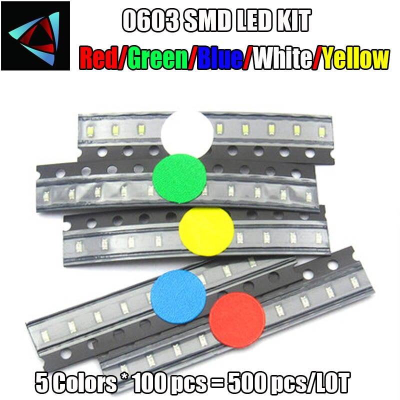 500Pcs Super Bright Lamp Bulb Blue Led Smd Smt 0603 Ic New rs