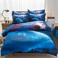 Fashion 3D Universe Planet Blue 4Pcs Single/Twin/Full/Double/Queen Size Bed Quilt/Duvet Cover Set Sheet Shams Outer Space Stars