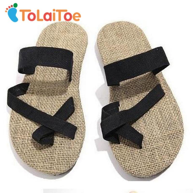 ToLaiToe 2017 Brand New Unisex Couples Soled shoes straw flax linen men Women beach slipper herringbone toe sandals home slipper tolaitoe autumn