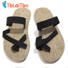 ToLaiToe 2017 Brand New Unisex Couples Soled shoes straw flax linen men Women beach slipper herringbone toe sandals home slipper