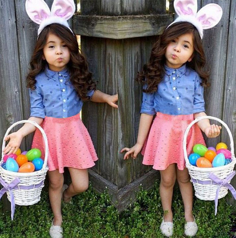 Baby Girls Clothing Sets Children Long Sleeve Dot Shirt blue +Pink Skirt boutique clothing toddler outfits kids clothes DY126C