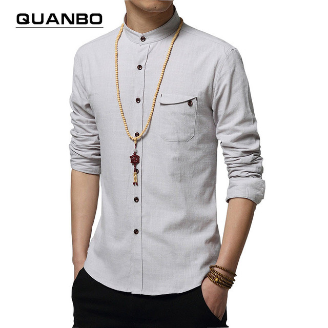 2016 New Autumn Fashion Brand Men Colthes Slim Fit Men Long Sleeve Shirt White Linen Shirts Men Casual Business Shirts Plus size