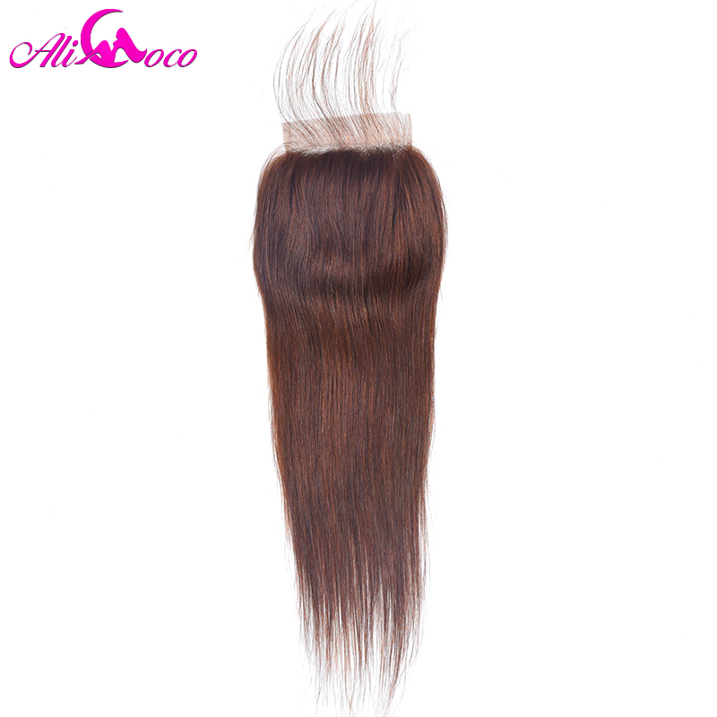 Ali Coco Hair Brazilian straight Lace Closure Color 4 With Baby Hair Human Hair Closure 4