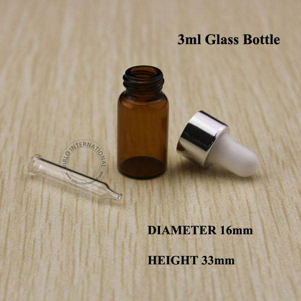 5pcs High Quality 3ml Mini Amber Essential Oil Bottle, Glass Sample Vial With Dropper, Easy Fill Empty Small Jar, Free Shipping