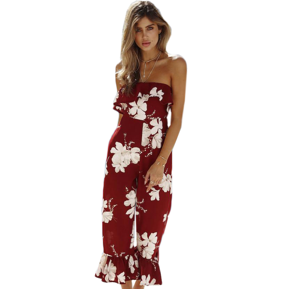 bb94907f320 2019 Off Shoulder Women Jumpsuit Floral Printed Ruffles Strapless ...