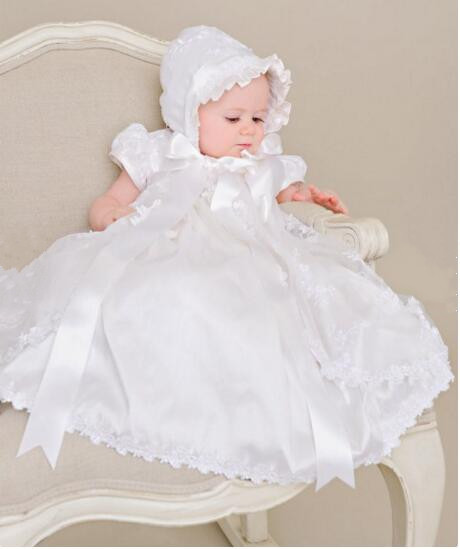 2016 Noble Baby Girl Christening Dress Todder Ivory Baptism Gown Lace Applique Robe Vestidos Baby Party Dress 0-24month