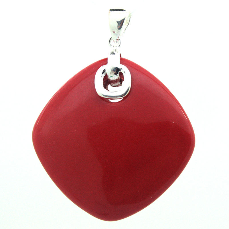 84dc8fc21 925 STERLING SILVER RED CORAL Artificial RICO SORTE COLAR PINGENTE 35 35 MM