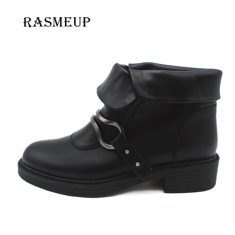 RASMEUP Fashion Soft Leather Buckle Women Punk Ankle Boots Autumn Winter Low Heels Motorcycle Boots Shoes Woman Martin Boots women martin boots 2017 autumn winter punk style shoes female genuine leather rivet retro black buckle motorcycle ankle booties
