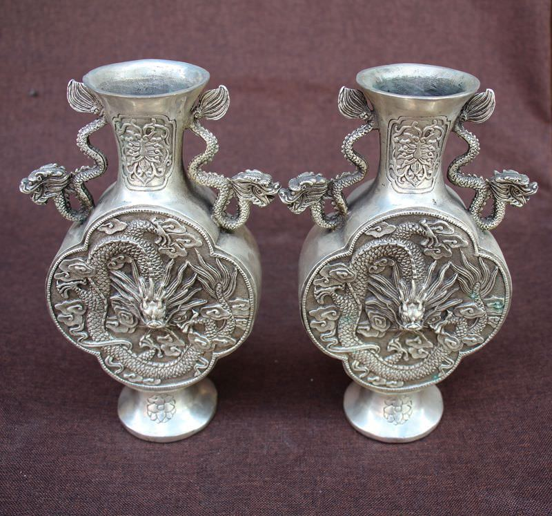 Chinese Silver Dynasty Dragons Animal Vase Bottle Vases a PairChinese Silver Dynasty Dragons Animal Vase Bottle Vases a Pair