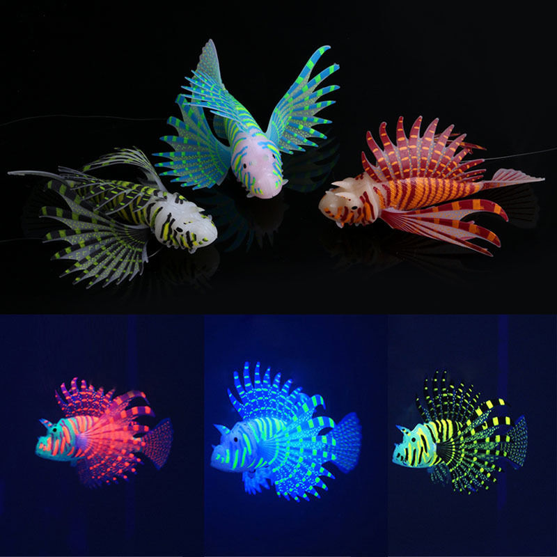 Aquarium Artificial Luminous Silicone Simulation Glowing Swimming Lionfish Snailfish Fish Tank Jellyfish Decoration Ornament