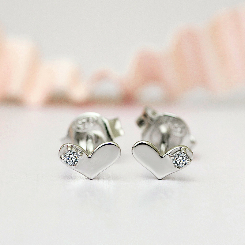 Double R Real Diamond Earrings Women 0 03ct Si1 925 Sterling Silver Heart Stud Clic Wedding Fine Jewelry Cae01830sa In From