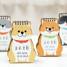Year 2018 Cartoon Dog Mini Desktop Paper Calendar Dual Daily Scheduler Standing Table Planner Yearly Agenda