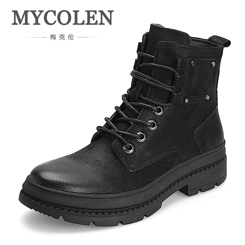 MYCOLEN 2018 High Quality Men Genuine Leather Shoes Winter Men Boots Black Genuine Leather Male Boots Ankle Short Boots Laarzen mycolen men boots genuine suede comfort leather sewing minimalist design black thread men ankle boots leather male shoes adult
