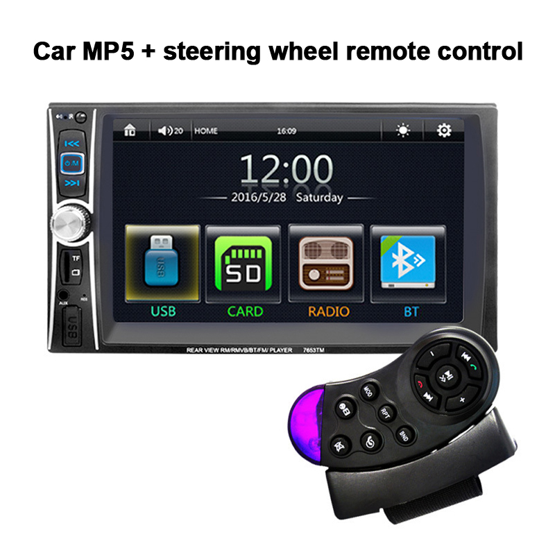 7653TM 6.6'' inch Car Radio MP3/MP4/MP5  Player  Bluetooth Stereo FM DVR in steering wheel control for android screen mirroring 2 din car radio mp5 player universal 7 inch hd bt usb tf fm aux input multimedia radio entertainment with rear view camera