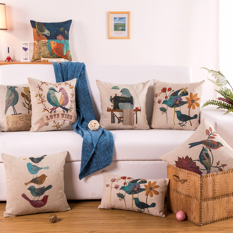High Quality Dustproof Natural Vintage Thicken Cotton Linen Cute Animal Flower Bird Printed Sofa Cushion Decorative Throw Pillow