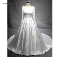 Luxury Cathedral Train Ball Gown Lace Wedding Dresses 2018 Ivory Long Sleeves Satin Church Bridal Gowns Royal vestidos de noiva