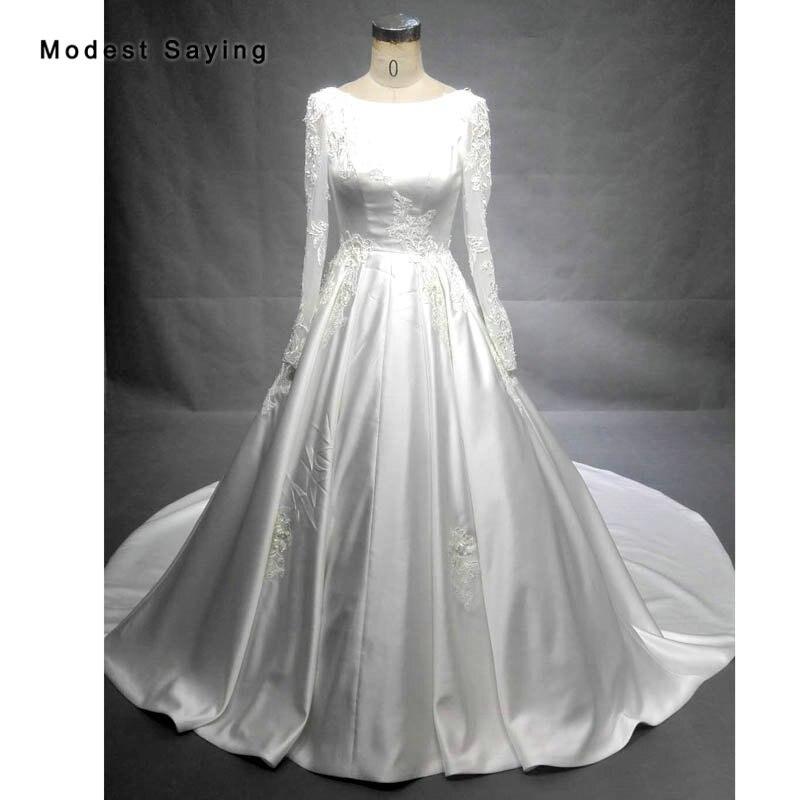 Luxe cathédrale Train robe de bal dentelle robes de mariée 2018 ivoire manches longues Satin église robes de mariée Royal vestidos de noiva