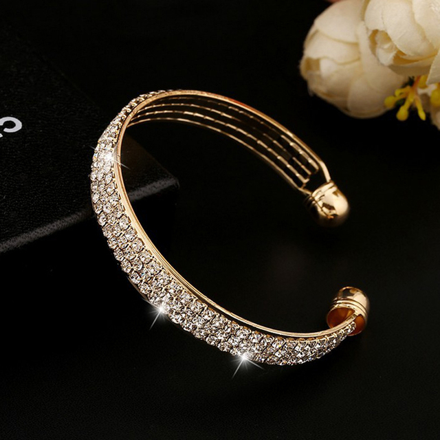 1 Piece Women Lady Golden/Silvery Crystal Cuff Charm Bangel pulseiras para as mulheres love bileklik New Jewelry Party 1