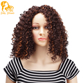 Afro Kinky Curly Synthetic Wigs Long Natural Curly African American Heat Resistant Synthetic Wigs Black Brown Wig Cheap No Lace