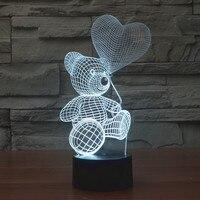 2016 г. Яркая 3D огни Тедди шар лампа Светодиодная медведь визуальные Творческие touch акрил лампы подарок