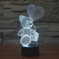 2016 colorful 3D lights Teddy balloon lamp LED bear visual creative touch acrylic lamp gift