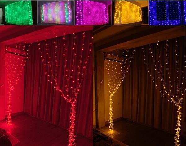 5368e4ce5d2 Luz 3x1.7 m 108 Led de navidad Brillante Cortina LED Luces de Cadena Para