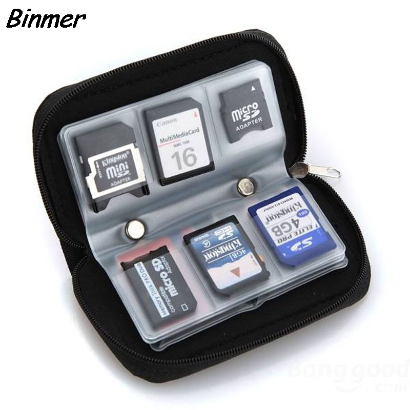 Binmer Micro SD MMC CF Memory Card Carrying Case Bag Holder 20 Slots Black