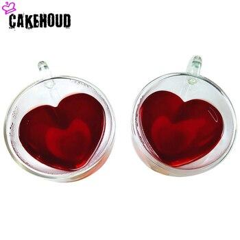 CAKEHOUD รูปหัวใจคู่ชั้นแก้ว Handmade เครื่องดื่มเบียร์ถ้วยกาแฟทนอุณหภูมิสูงแก้วคู่แก้ว
