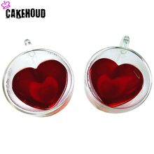 CAKEHOUD Heart-shaped Double-layer Glass Mug Handmade Creative Beer Drink Coffee Cup High Temperature Resistant Couple
