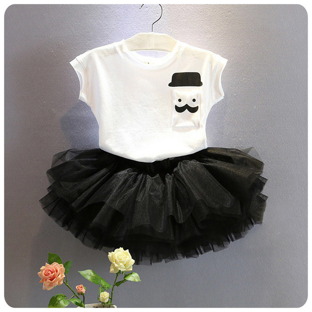 Korean Girl Children's Garment 2016 Wear New Girl Baby T-Shirt Base Bottoming Sweater Yarn Half-body Short Skirt 2 Pieces Suit