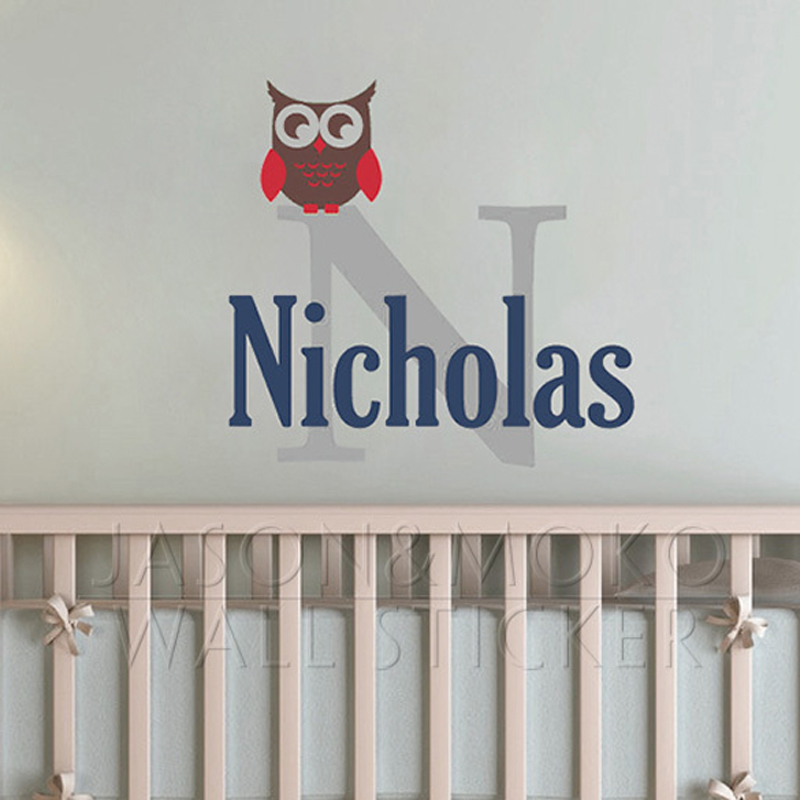 Owl Wall Decal Customized Personalized Name Monogram Children Nursery Baby Playroom Vinyl Sticker Mural Wallpaper Boy 60x65cm