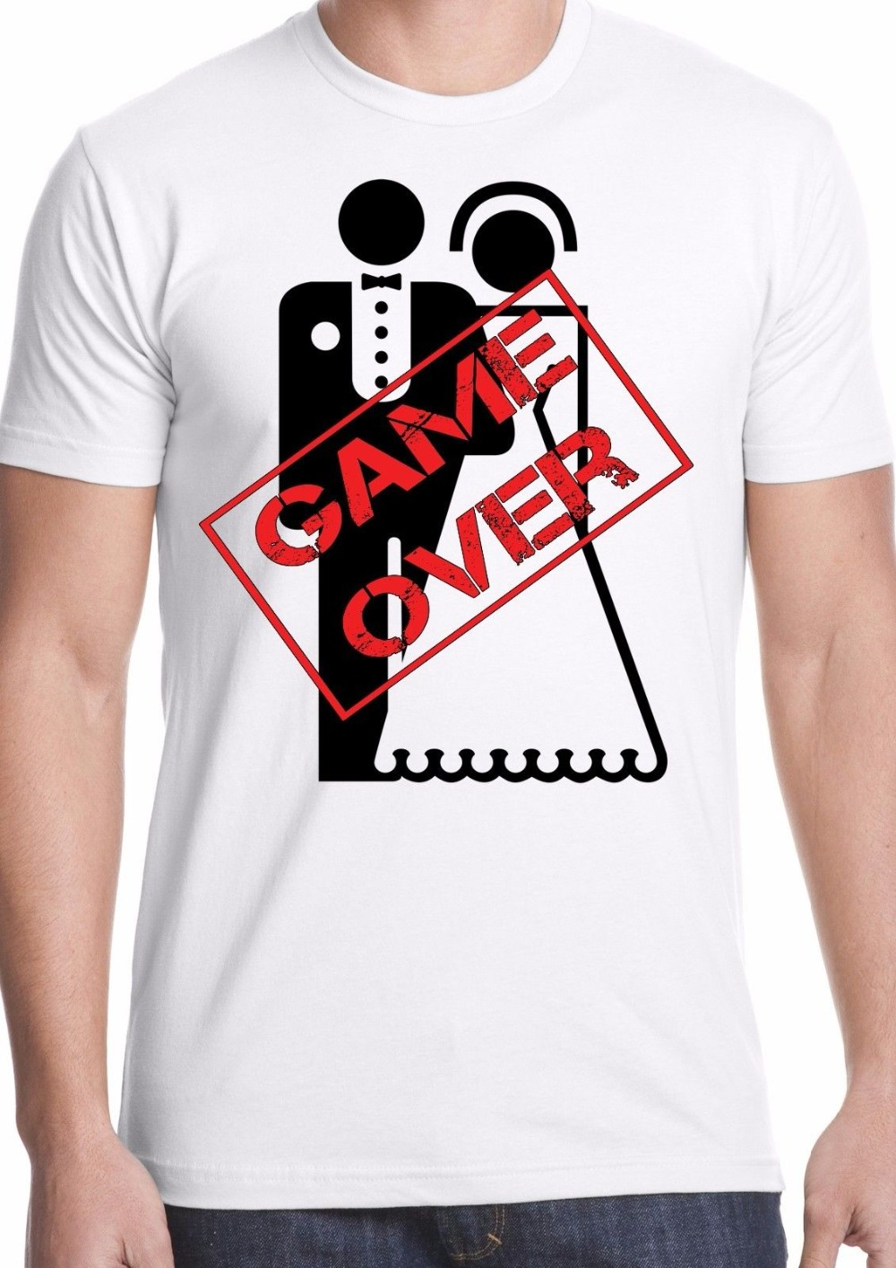 Summer 2018 New game over t-shirt stag do marriage gift personalised funny humor wedding groom ! 100% Cotton Top Tees
