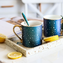 Europe High-grade Brilliant Star Ceramic Mug Gold edge Bone china Large Capacity Coffee Milk Tea water cup Drinking Gift