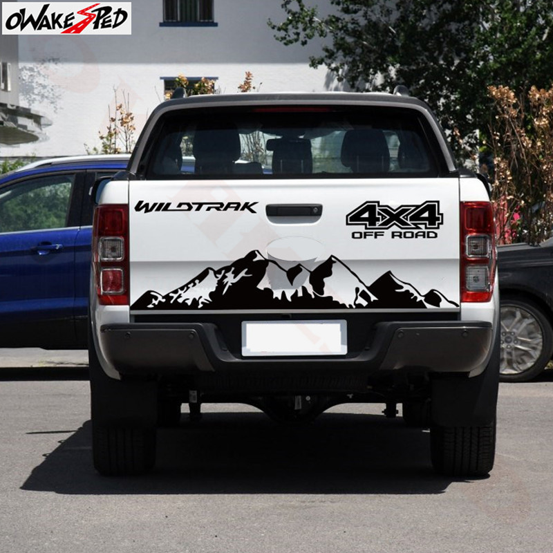 Pickup Truck Decor <font><b>Sticker</b></font> Mountains <font><b>4X4</b></font> <font><b>Off</b></font> <font><b>Road</b></font> Graphics Car Tail Gate Vinyl Decal For Ford Range Auto Accessories image