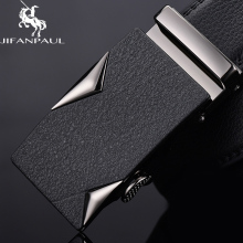 JIFANPAUL belt mens leather black alloy automatic buckle trend young cowhide authentic personality simple business