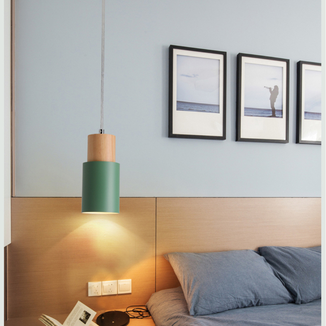 Designer Nordic simple Wood Pendant Lights led hang lamp Colorful Aluminum fixture  Kitchen Island bar hotel home decor E27 3