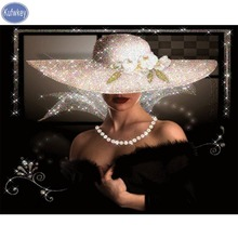 diamond embroidery A woman in a hat 5d painting full mosaic 3d picture of rhinestones cross-st