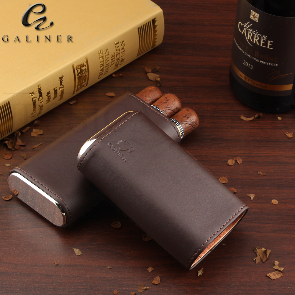 COHIBA Leather Cedar Cigar Case Travel Pocket Cigar Humidor Holder 3 Tube Protable Wood Humidor Box