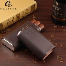 COHIBA Leather Cedar Cigar Case Travel Pocket Humidor Holder 3 Tube Protable Wood box