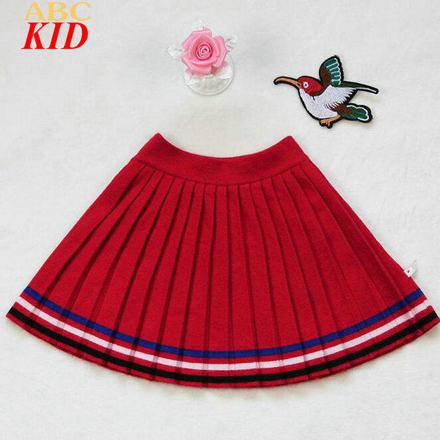 Otoño invierno de los niños muchachas de la falda drapeado faldas rayadas niños falda plisada estilo preppy saia una line de punto ropa de niña kd498