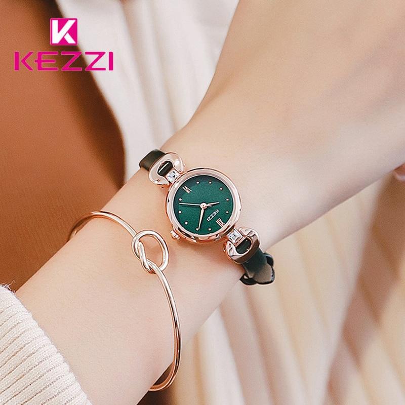 Kezzi Brand Ultra Thin Quartz Watch Woman Simple Small Dial Leather Wrist Watches Luxury Lady Waterproof Dress Reloj Hombre