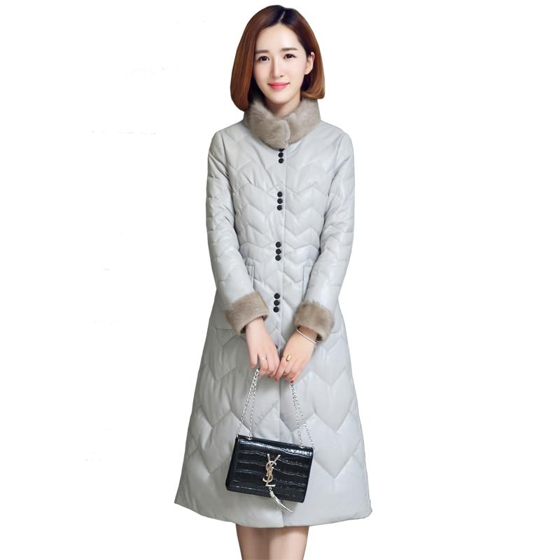 Новое поступление ЛИВА девушка Офисные женские туфли с длинными рукавами длинные воротник стойка Однобортный Искусственная кожа пальто