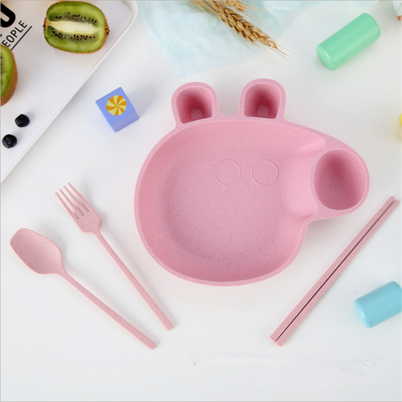 Baby Tableware Set Wheat Straw Bowls Infant Feeding Plate With Fork Spoon Childr Cups, Dishes & Utensils