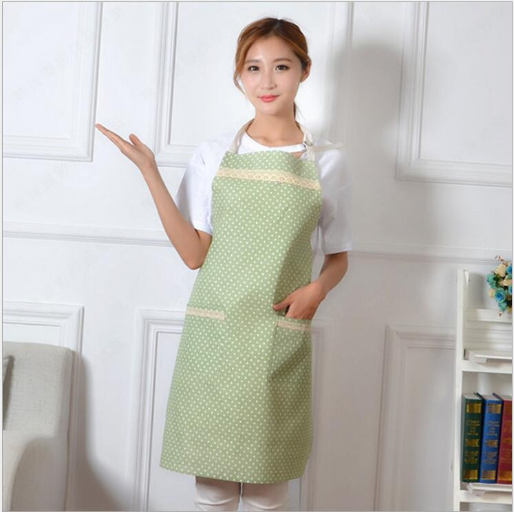 Hot Sale Cute Stripe and Dots Kitchen Bib Apron for Woman Chef Restaurant Cooking Tool Halter