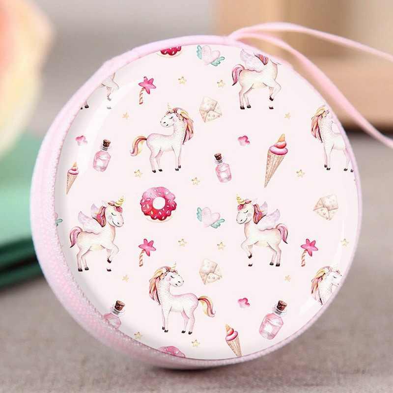 Bolsa de almacenamiento de Casa unicornio organizador de cables de auriculares caja de datos línea estuche de almacenamiento de monedas regalo de cumpleaños para niños caja de dulces para niños