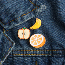 3 Pcs Set Fashion Buah Bros Pisang Apple Orange Enamel Pin Logam Pakaian Kerah Pin Ransel Tombol Lencana Anak Perhiasan hadiah(China)